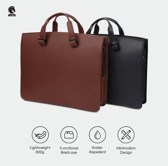 L'Eric briefcase black brown