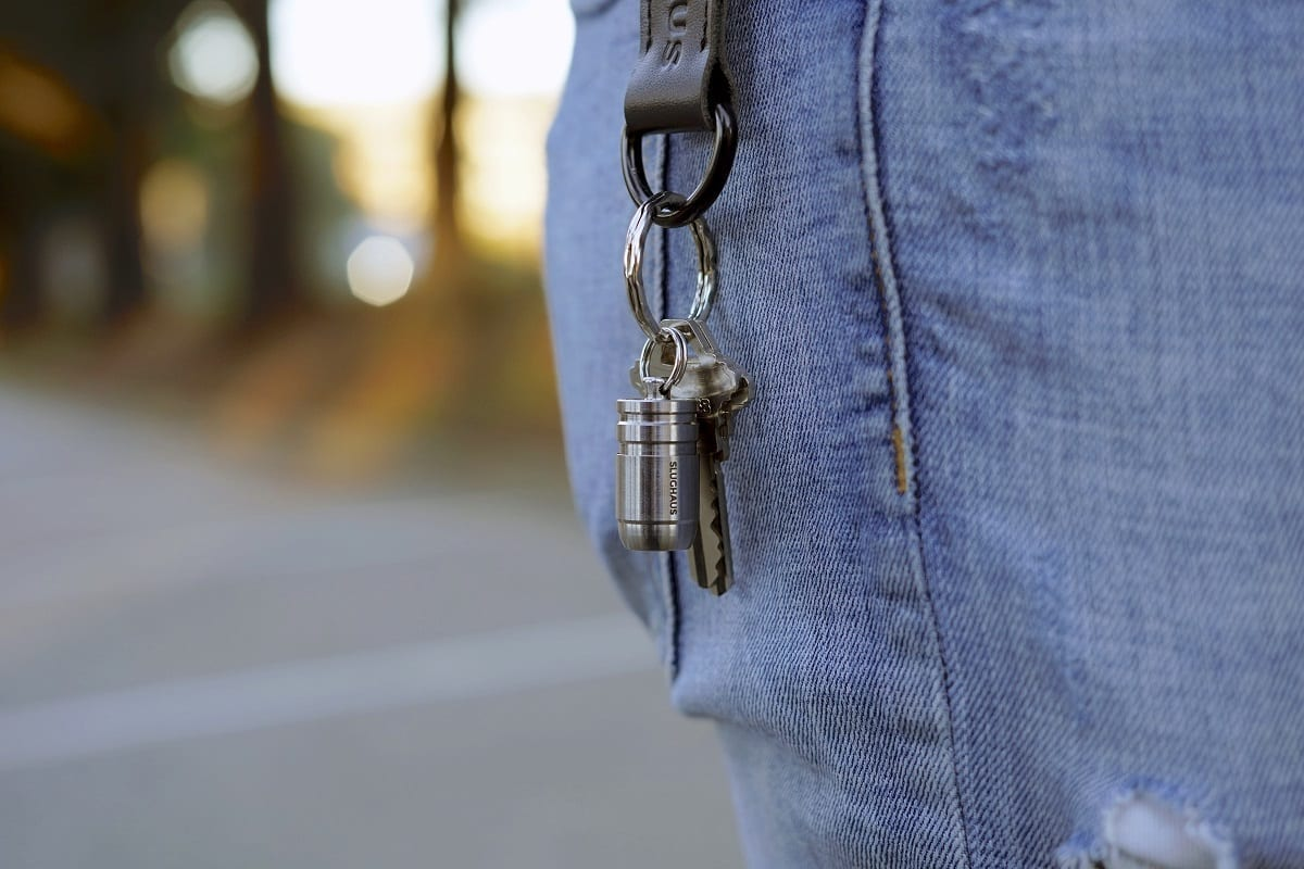 Bullet micro flashlight on keychain